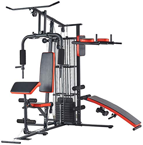 BalanceFrom RS 90XLS Home Gym System Multiple Purpose Workout Station with 380LB of Resistance, 145LB Weight Stack, Comes with Installation Instruction Video, Black