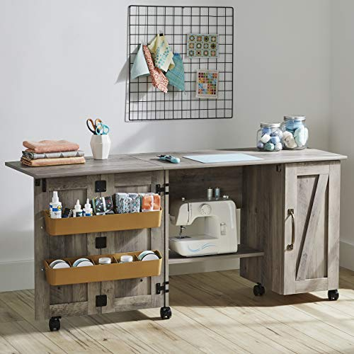 Better Homes & Gardens Modern Farmhouse Wood Sewing Table, Rustic Gray