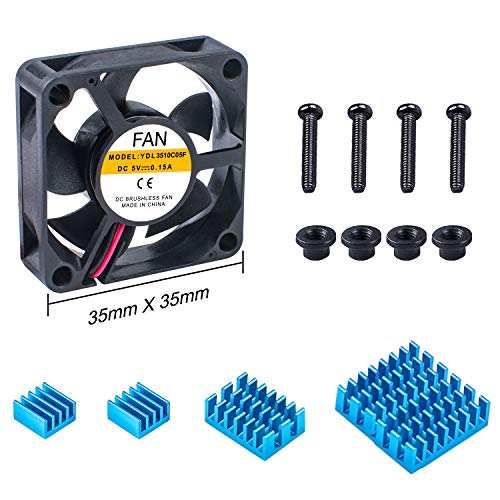 Miuzei Raspberry Pi Fan for Raspberry Pi 4 & 4B+ with 3 Pcs Aluminum Heatsinks for Raspberry Pi 4 B+, Pi 4 Model B