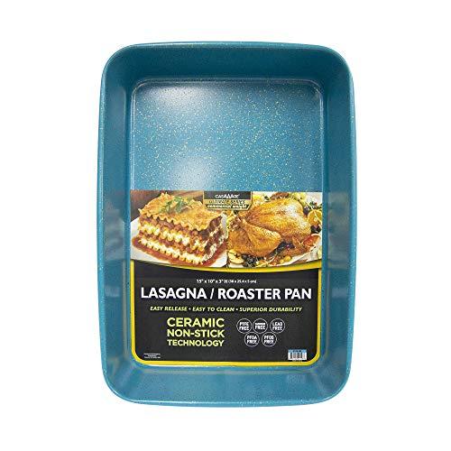 casaWare 15 x 10 x 3-Inch Ultimate Series Commercial Weight Ceramic Coated Non-Stick Lasagna/Roasting Pan (Blue Granite)