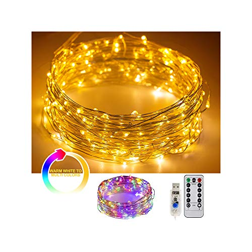 8 Modes String Lights 32.8 FT/10M 100LEDS Fairy String Lights USB Powered Remote Control for Wedding Home Parties Christmas Holiday Decoration(Warm White & Colorful)