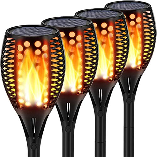 Topmante Solar Lights Upgraded, Waterproof Flickering Flames Torches Lights Outdoor Solar Spotlights Landscape Decoration Lighting Dusk to Dawn Auto On/Off Security Torch Light (4 Pack - Circle)