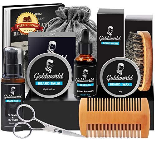 Beard Kit,Beard Growth Kit,Beard Grooming Kit w/Beard Mustache Wax,Beard Growth Oil,Beard Balm,Beard Wash/Shampoo,Brush,Comb,Scissor,Storage Bag,E-Book,Beard Care & Trimming Kit Gifts for Men Him