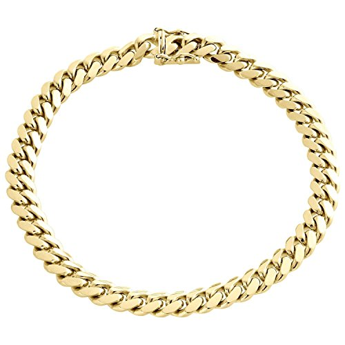 10K Yellow Gold 3MM, 4MM, 7MM Miami Cuban Link Chain Bracelet or Necklace (8, 7MM)