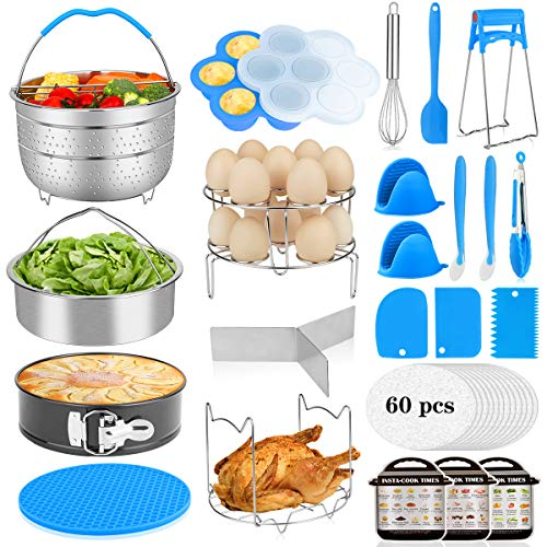 25Pcs Accessories for Instant Pot 6,8 Qt, Aitbay Pressure Cooker Accessories Set, 2 Steamer Baskets, 2 Divider, Springform Pan, Egg Bites Mold, Stackable Egg Steamer Rack, 60 Pcs Parchment Papers