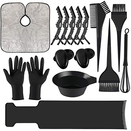 Dreamtop 18 PCS Hair Dye Coloring Kit Hair Tinting Bowl Dye Brush Ear Cover Gloves Hair Highlighting Board Dye Mixer and Hair Coloring Cape For Salon and Home Use Hair Coloring Hair Dryers