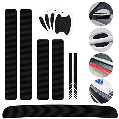 11 pcs Universal 3D Carbon Fiber Car decoration Stickers,Rear View Mirror Stickers DIY Door Handle Paint Scratch Protector Sticker Door Sill Scuff Guard,Welcome Pedal Protect Bumper Protector Sticker
