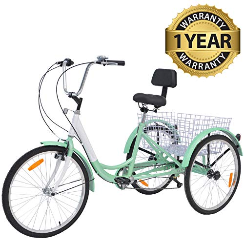 Slsy Adult Tricycles 7 Speed, Adult Trikes 20/24 / 26 inch 3 Wheel Bikes, Three-Wheeled Bicycles Cruise Trike with Shopping Basket for Seniors, Women, Men. (Light Sea Green, 24' Wheels/ 7-Speed)