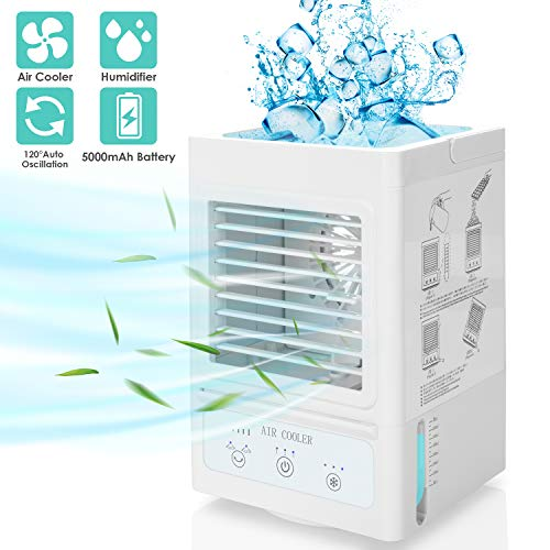 Portable Air Conditioner,60°/120° Auto Oscillation Personal Air Cooler,5000mAh USB Rechargeable Battery Operated Mini Cooling Fan with 3 Wind Speeds & 3 Misting Levels,Humidifier,for Indoor&Outdoor