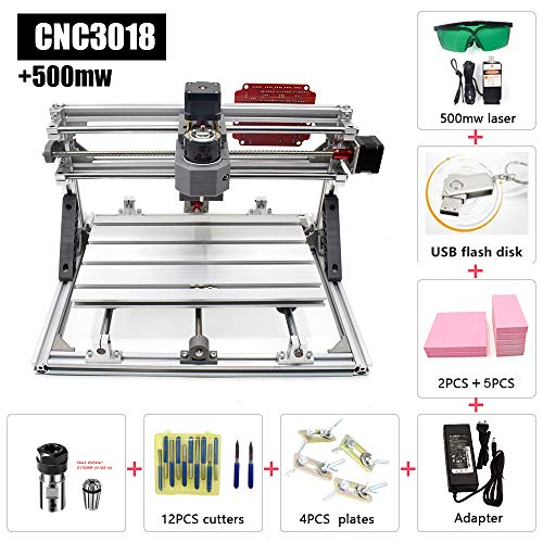 FASTTOBUY 500mw CNC 3018 Router Kit,2 in 1 Laser Cutting and Engraving Machine Class 4 Desktop CNC for Wood, Acrylic & PVC. Made for Small Business and Creative Talents
