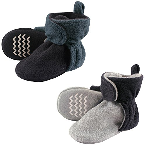 Hudson Baby Unisex Cozy Fleece Booties, Blue Gray, 12-18 Months