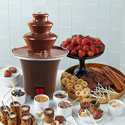 3 Tiers Chocolate Fondue Fountain Stainless Steel Heated Chocolate Melting Machine,Only 0.5 Pound Capacity For Home Party Restaurant Hotel