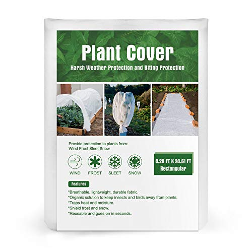 Kupton Plant Cover Freeze Protection, 8ft×24ft Reusable Rectangle Frost Protection Plant Blanket for Cold Weather Protection & Plant Growth