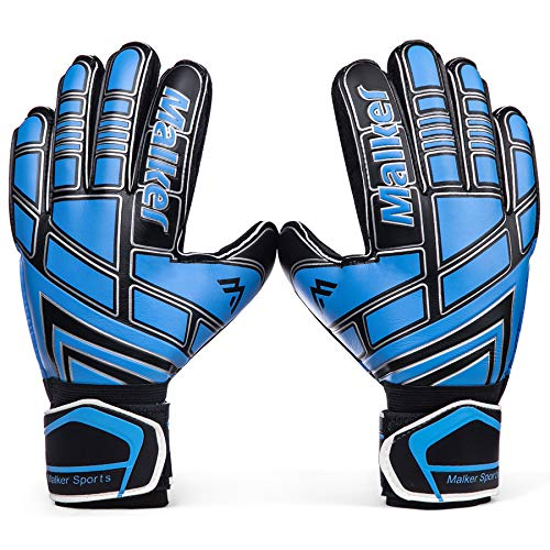 Malker Soccer Goalie Gloves Goalkeeper Gloves with Fingersave and Double Wrist Protection, Strong Grip Goalkeeper Gloves for Youth&Adult Size 5(Black)