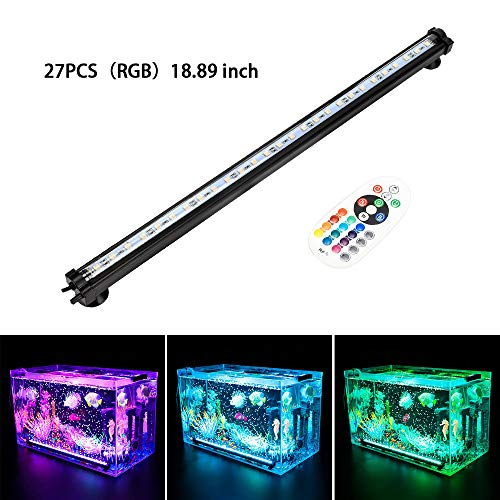 LONDAFISH Aquarium Air Bubble Lights LED Fish Tank Light Lighting Remote Control 3.8W/5.8W 16 Colors (5.8W/27 Lights)