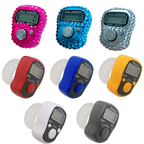 Gzingen 8pcs Finger Counter, Resettable 5 Digital LED Electronic Handheld Tally Counter Clicker Lap Counter Tracker Counter for Row, People, Golf & Knitting, Assorted Colors