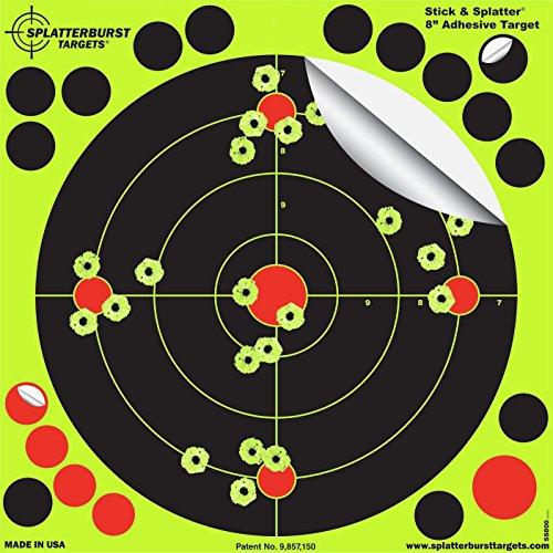 Splatterburst Targets - 8 inch Adhesive Stick & Splatter Reactive Shooting Targets - Gun - Rifle - Pistol - Airsoft - BB Gun - Pellet Gun - Air Rifle (50 Pack)