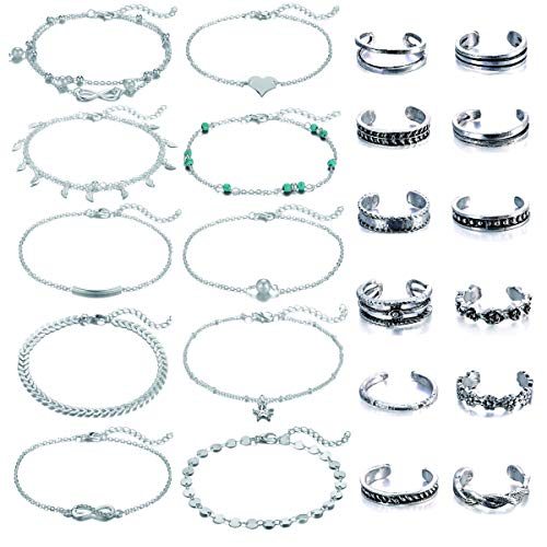 Adjustable Beach Anklets Toe Rings for Women Girls Band Open Toe Ring Anklet Bracelets Chains Beach Foot Jewelry Set 15-22 pcs