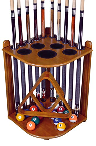 Cue Rack Only - 10 Pool - Billiard Stick & Ball Set Holder - Floor Rack - Dark Oak Finish