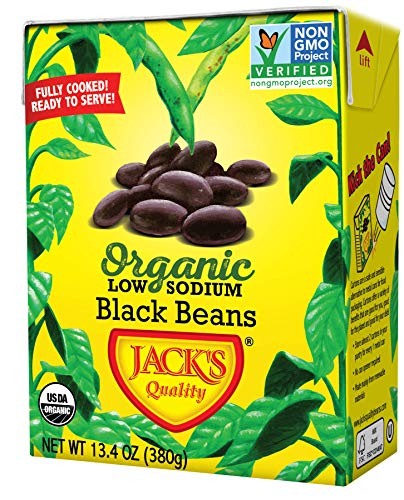 Jack's Organic Black Beans (8 PACK) – Filled with Protein & Fiber, Heart Healthy, Low Sodium, Non GMO, BPA Free, Ready-to-eat, 100% Sustainable Packaging with Easy Open Tearstrip, [13.4 oz cartons]