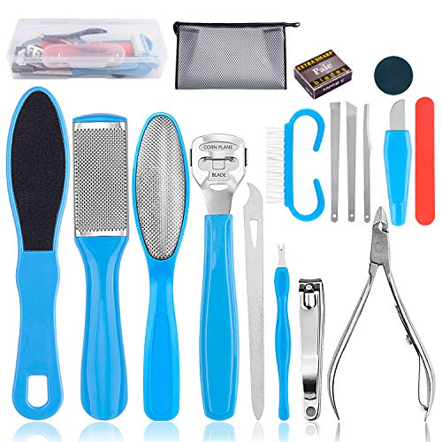 Professional Pedicure Tools Kit 18 in 1, Inpher Stainless Steel Foot Rasp Foot Peel and Callus Clean Feet Dead Skin Tool Set, Nail Toenail Clipper Foot Care Kit for Women Men Salon or Home