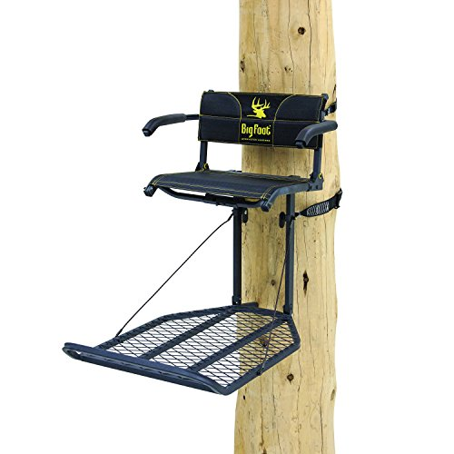 Rivers Edge RE556, Big Foot TearTuff XL Lounger, Lever-Action Hang-On Tree Stand with TearTuff Flip-up Mesh Seat, Oversized 37.5 x 24 Platform, Arm/Foot/Back Rests, Black