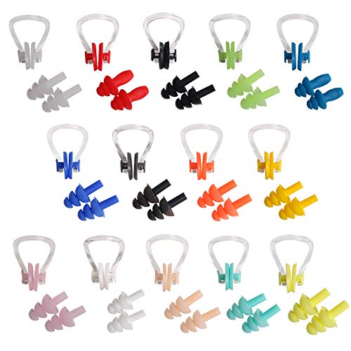 UPINS 14 Sets Silicone Nose Clips Waterproof Swimming Nose Plugs Earplugs for Adults Kids, Ear Nose Protector