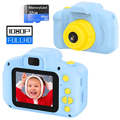 VATENIC Kid Camera Best Birthday Gift for Boys Age 3-10,1080IPS 2inch HD Chirldren Digital Video Camera for Boy,Toys for 3 4 5 6 7 8 9 Year Old Boys Toys with 32GB SD Card, Blue