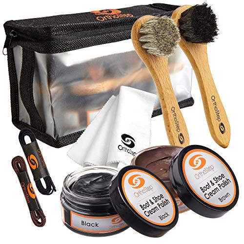 OrthoStep 8pc Black and Brown Shoe/Boot Cleaning Kit – Polish, Brushes, Cloth, Case