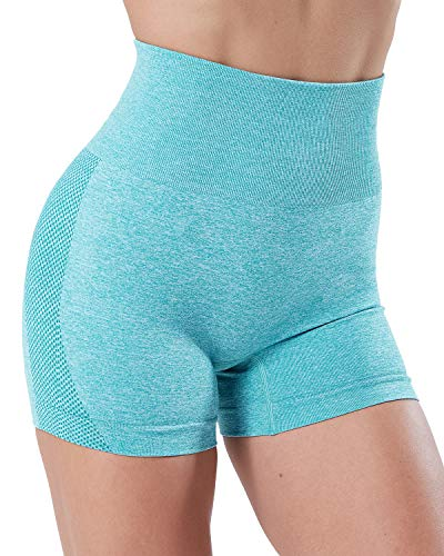 SALSPOR Women's Seamless High Waist Workout Shorts Hollow Mesh Breathable Tummy Control Gym Athletic Shorts Blue
