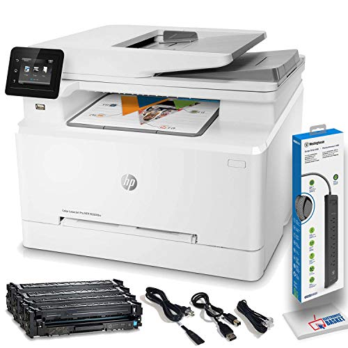 HP Color Laserjet Pro M283fdw Wireless All-in-One Laser Printer, Remote Mobile Print, Scan & Copy, Duplex Printing, with Power Strip Surge Protector + Electronics Basket Microfiber Cleaning Cloth