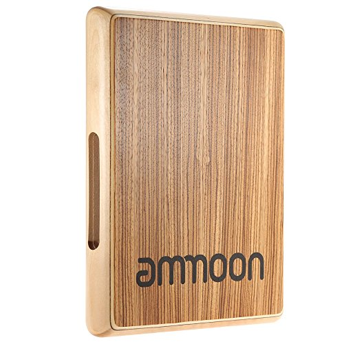 ammoon Compact Travel Cajon Flat Hand Drum Portable Percussion Instrument with Adjustable Strings
