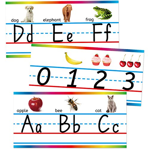 Traditional Manuscript Alphabet and Numbers with Photographs Bulletin Board Set Classroom Wall Line