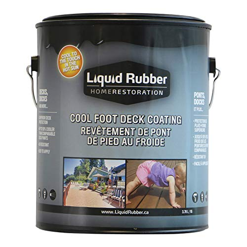 Liquid Rubber Cool Foot Deck and Dock Coating - Easy to Apply Sealant - UV Resistant - Non-Toxic - Misty Gray, 1 Gallon