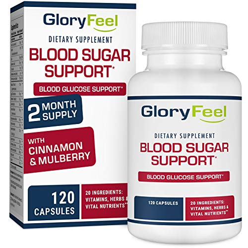 Gloryfeel Blood Sugar Support Supplement - Promote Glucose Metabolism and Cardiovascular Health - 20 Herbs & Multivitamin for Blood Sugar Control with Alpha Lipoic Acid & Cinnamon