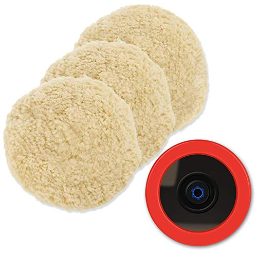 Wool polishing pad, SPTA 4pcs 8'(200mm) 100% Natural Wool with Hook & Loop Grip Buffing Pad Polishing Pad Kit for Car Polisher Compound Cutting,Buffing and Polishing