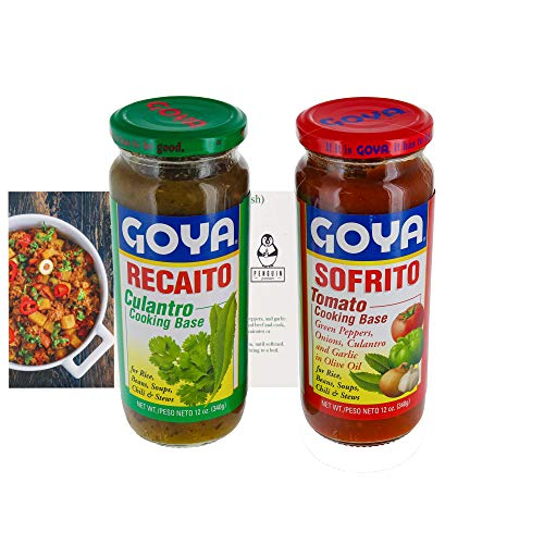 Goya Sofrito and Recaito Cooking Base Bundle (Set of 2) - Great Cooking Base for Rice, Beans, Soups, Chili, and More! - 12 Oz Jars - Comes with a Premium Penguin Recipe Card