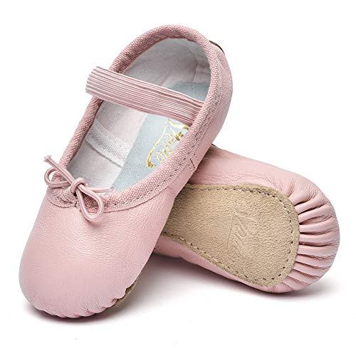STELLE Girls Premium Leather Ballet Shoes Slippers for Kids Toddler (9MT, 1-Strap)