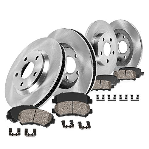 CRK13455 FRONT 288 mm + REAR 272 mm Premium OE 5 Lug [4] Rotors + [8] Quiet Low Dust Ceramic Brake Pads + Hardware