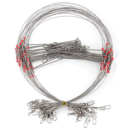 Poufu Fishing Leader Rigging High-Strength Stainless Steel Wire 2 Arm Tackle Lure Swivel Snaps Beads