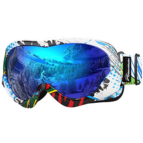 OutdoorMaster Kids Ski Goggles - Helmet Compatible Snow Goggles for Boys & Girls with 100% UV Protection (Color pattern Frame + VLT 15% Grey Lens with Full REVO Blue)