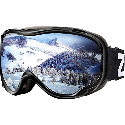 ZIONOR Lagopus Ski Snowboard Goggles UV Protection Anti Fog Snow Goggles for Men Women Youth VLT 8.6% Black Frame Silver Lens