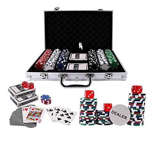 Doublefan Poker Chips Set, Heavy Duty 11.5 Gram Clay Poker Chips Set Texas Holdem Blackjack Gambling Chips Aluminum Case (300psc)