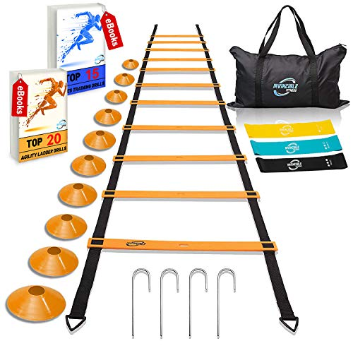Invincible Fitness Agility Ladder Training Equipment Set, Improves Coordination, Speed, Power and Strength, Includes 10 Cones, 4 Hooks and 3 Loop Resistance Bands for Outdoor Workout (Orange)