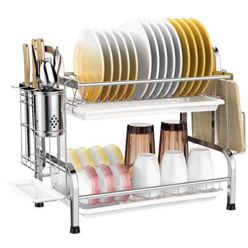 Dish Drying Rack, Veckle 2 Tier Dish Rack 304 Stainless Steel Utensil Holder Cutting Board Holder Dish Drainer with Removable Drain Board for Kitchen Countertop, Silver