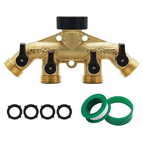 ATDAWN 4 Way Brass Hose Splitter, 3/4' Brass Hose Faucet Manifold, Garden Hose Adapter Connector