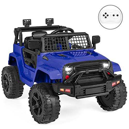 Best Choice Products 12V Kids Ride On Truck Car w/Parent Remote Control, Spring Suspension, LED Lights - Blue