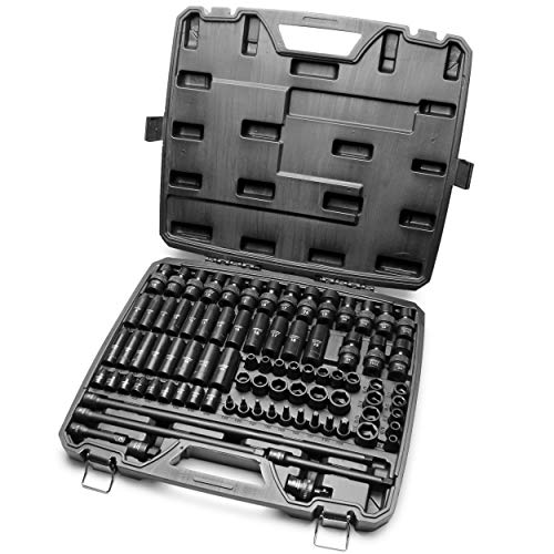 3/8 Inch Drive 84 Piece Impact Socket MASTER SET, our Most Complete Set Ever with SAE & Metric from 1/4 Inch - 3/4 Inch, 6mm - 19mm, Standard/Deep/Universal and Star and Inverted Star Sockets & More