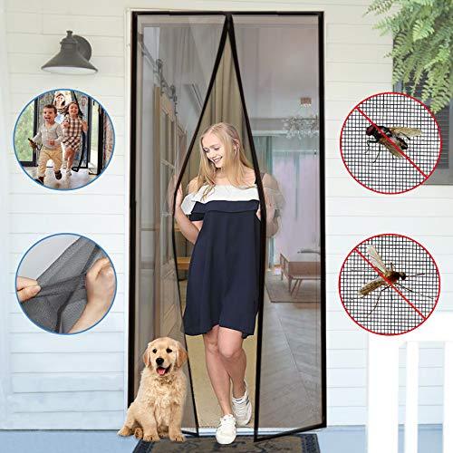 YUFER Magnetic Screen Door 36×96 Reinforced Fiberglass Mesh Curtain Entry Door Screen with Full Frame Hook&Loop - Fits Door Size up to 35''x96'' Max,Grey