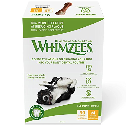 Whimzees Natural Daily Dental Long Lasting Dog Treats One Month Supply, Brushzees, Medium, Box of 30